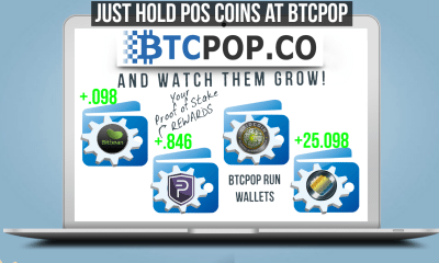 "staking pool post image of laptop with staking wallets and ""Just hold POS coins at btcpop and watch them grow"" and btcpop logo"