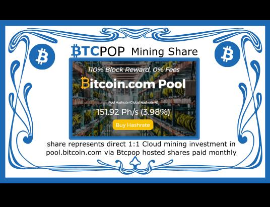 Btcpop.co launches 50Btc Bitcoin.com mining IPO